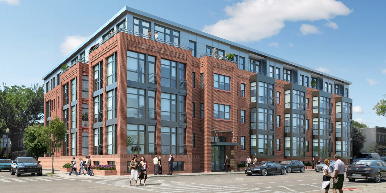 Kipling House architectural rendering, requiring Kipling House with INTUS Windows and Balcony Doors, STC45/OITC38