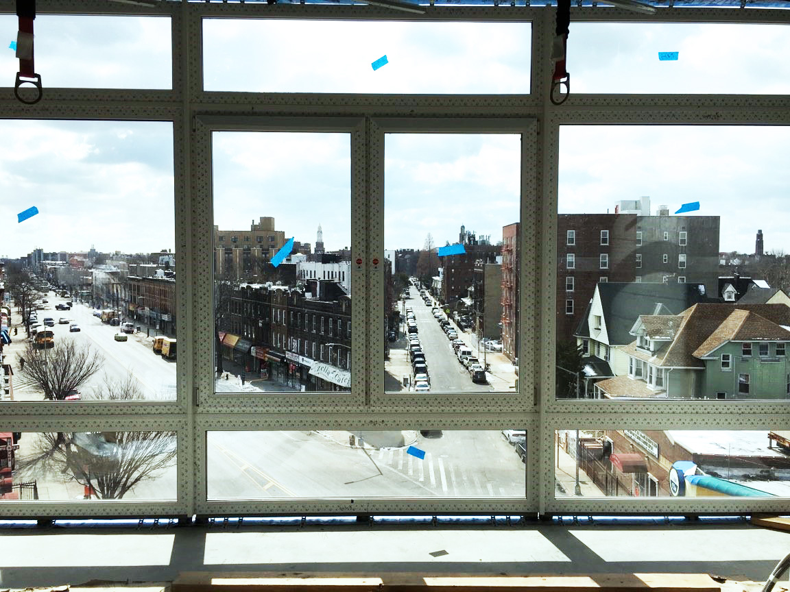 Hello Flatbush in-progress with INTUS window walls, storefronts, & windows