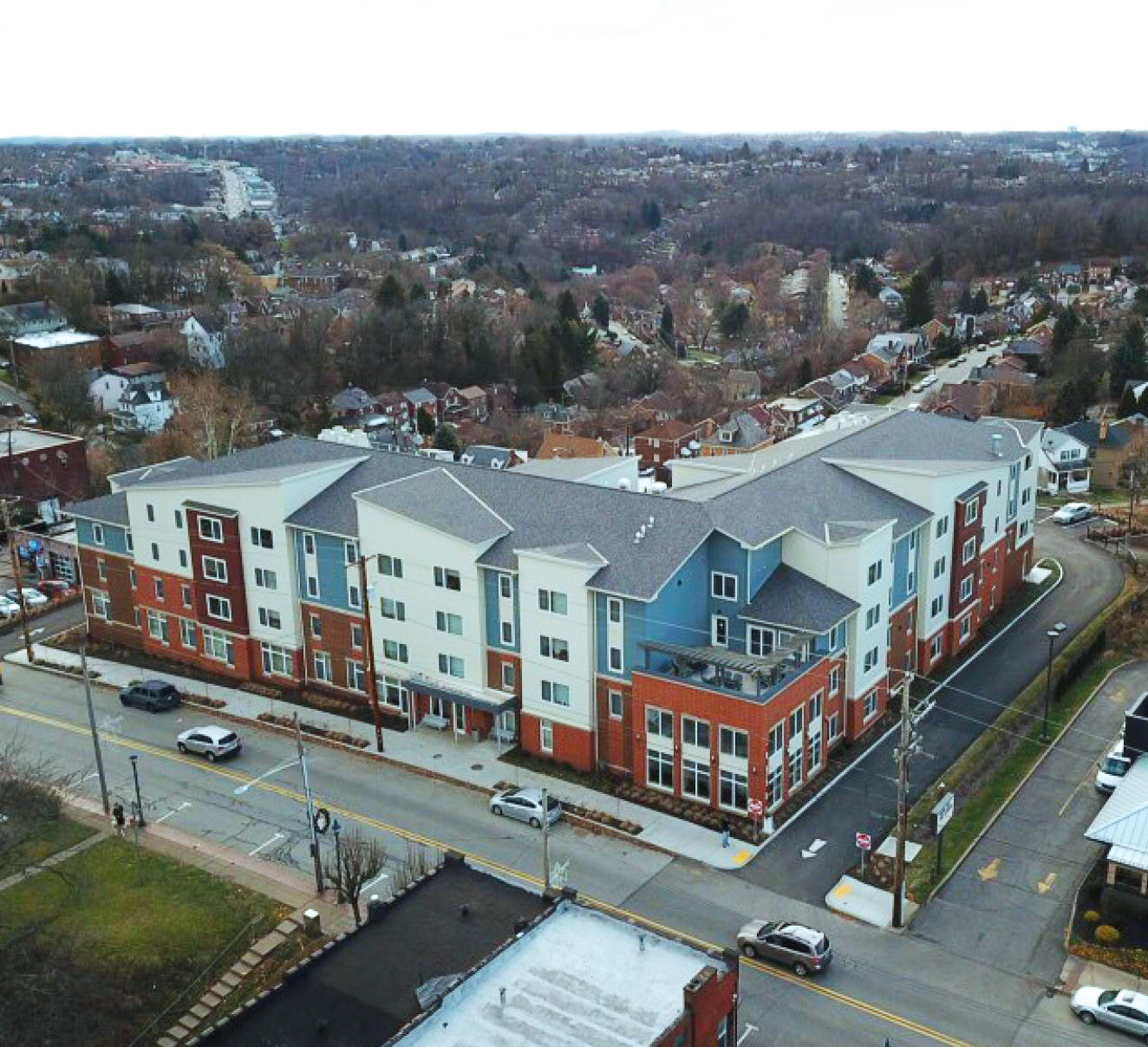 Hillcrest Senior Residences aerial view with INTUS Windows