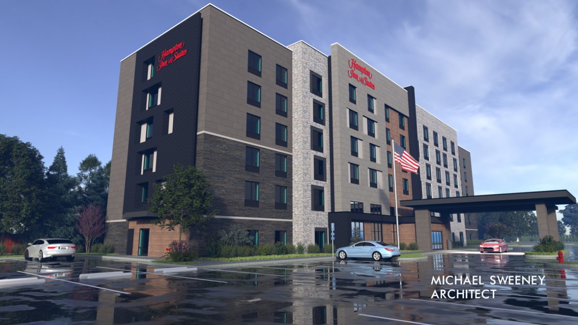 Hampton Inn & Suites at GreenGate (Rendering and design credit:  Michael Sweeney, Architect)